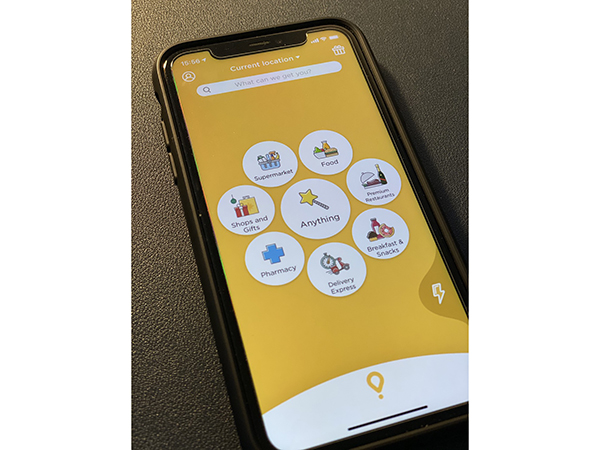 A delivery app for ordering food as well as a variety of other items